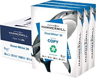 Hammermill Printer Paper, Great White 30% Recycled Paper, 8.5 x 11 - 3 Ream (1,500 Sheets) - 92 Bright, Made in the USA