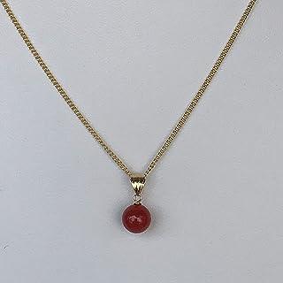 シンプルなオシャレ赤珊瑚玉ペンダントトップK18*約7,5mm玉