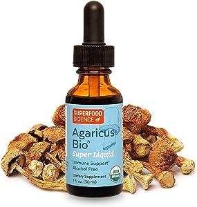 Superfood Science Agaricus Bio Super Liquid, Agaricus Blazei Immune System Booster Mushroom Supplement, Organic Agaricus Blazei Mushroom Extract Tincture for Immune Support, Non GMO, 1 Fl Oz.
