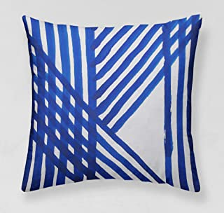 INNNOISEEM Soft Personalized Pillowcase Decorative Square Throw Pillow Case Zippered Two Sides 18x18 inches Cushion Cover (Chinese Tile Cobalt Blue)