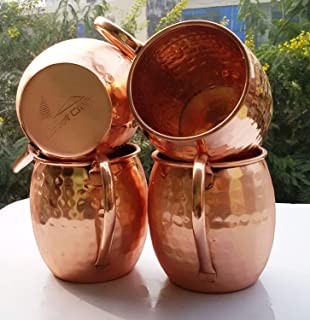 Copper Barrel Moscow Mule, Size 16 Oz, Moscow Mule Mug - 100% Pure Solid Copper, No Nickel Interior, Hand Hammered Set Of-...