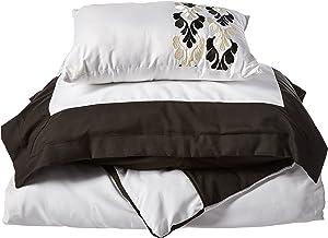 غطاء سرير وين مكون من 3 قطع عصري بلونين من تشيك هوم، مزدوج، أسود، 3 قطع