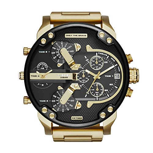 Diesel Mens Mr Daddy 2.0 Quartz Stainless Steel Chronograph Watch, Color: Gold-Tone