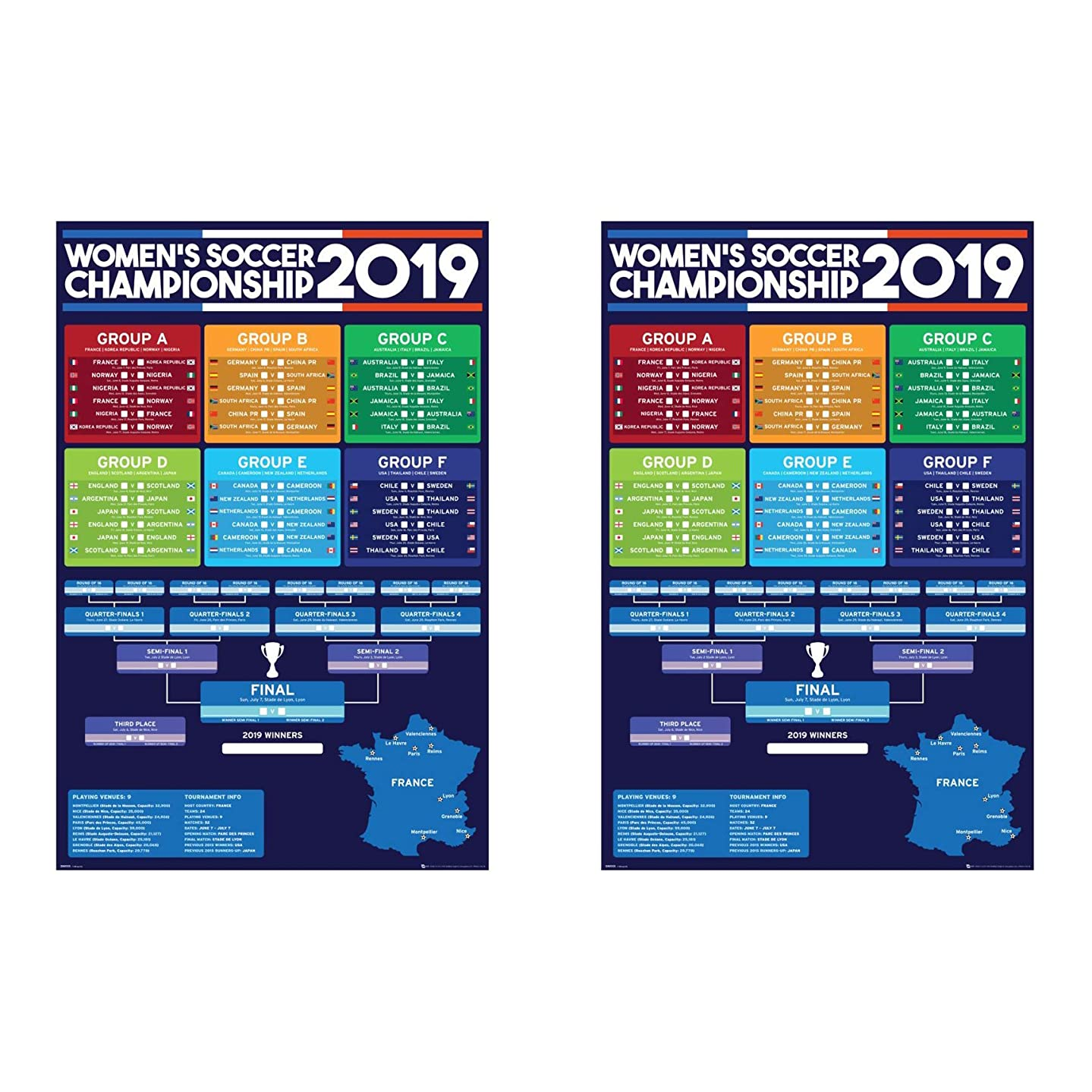 GB Eye 2019 Women's World Cup France - Two (2) Championship Wall Charts (24 by 36 inches) Do not Confuse with Smaller Size Posters