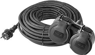 EMOS Verlängerungskabel mit 2 Schuko Steckdosen, 15 m, Doppel-Verlängerung, 2 Schutzkontakt Buchsen, Gummi-Kabel für den Außenbereich, IP44, H05RR-F3G 1,5 mm2