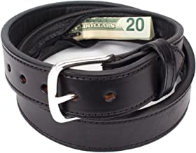 MEN LEATHER BELT HIDDEN SECRET MONEY POCKET SIZE EXTRA LARGE XL