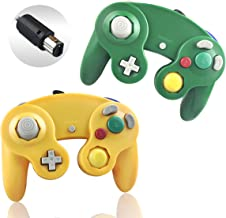 Gamecube Controller, Reiso 2 Pack Classic Extension Wired Controllers Compatible with Nintendo Wii Game Cube NGC(Light Orange and Green)