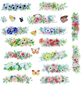Watercolor Flower Frame Butterfly Planner Stickers, DIY Decorative Scrapbooking Embellishment Supplies, Adhesive Art Craft Gift for Journal, Diary, Notebook, Letters, Calender, Card Making, Envelop
