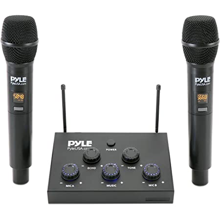 Wireless Karaoke Microphone Mixer System - 8-Channel Optical/Coaxial Input Mixer w/Digital UHF Wireless Mics, 3.5mm Input/Output, Works w/Home Theater, Receiver, Amplifier, Speaker - Pyle PDWMKHRD23