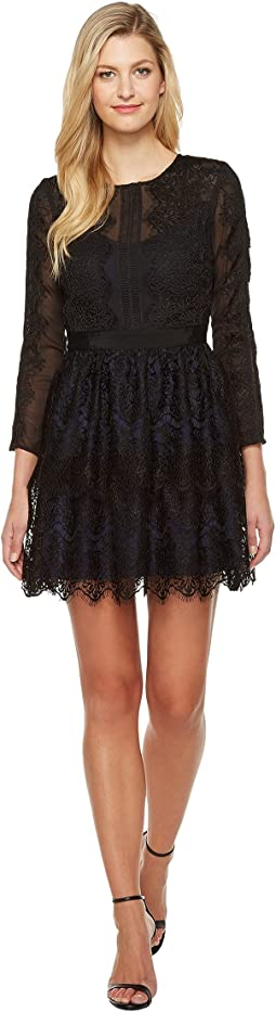 Suzanne Woven Lace Long Sleeve Fit and Flare