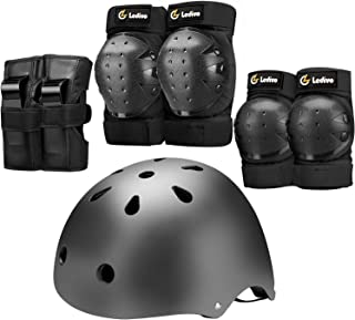 LEDIVO Kids Bike Helmet, Youth Toddler Helmets Adjustable for 3-14 Years Boys Girls, Knee Pads Elbow Pads Wrist Guards Kid...