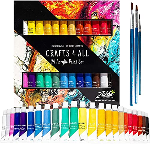Acrylic Paint Set by Crafts 4 ALL Perfect for Canvas, Wood, Ceramic, Fabric. Non Toxic & Vibrant Colors. Rich Pigment...
