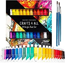 Acrylic Paint Set 24 Colors by Crafts 4 ALL Perfect For Canvas, Wood, Ceramic, Fabric. Non toxic & Vibrant Colors. Rich Pi...