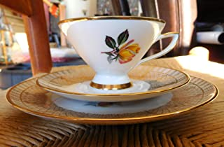 Winterling Bavaria Germany 121 Footed Cup, Saucer and Plate Gold and Flowers