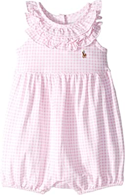 Ruffled Gingham Cotton Romper (Infant)