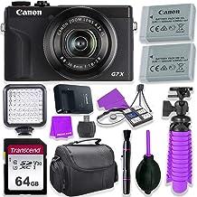 Canon PowerShot G7 X Mark III Camera w/ 1 Inch Sensor & 4k Video - Wi-Fi & Bluetooth Enabled (Black) & LED Video Light, 64GB Transcend Memory Card, Extra Battery + Accessory Bundle