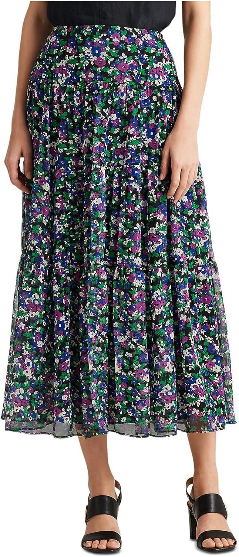 Ralph Lauren Womens Black Ruffled Floral Midi Skirt Size 14
