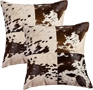 Best Set of 2, Natural Torino Quattro Handcrafted Soft Touch Natural Cowhide Pillow with Polyfil Insert and Zipper Closure, S&P Chocolate/White, 18 in x 18 in Review