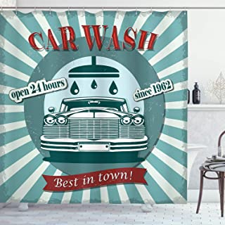 Ambesonne Retro Shower Curtain, Vintage Graphic Design for a Car Wash Sign Commercial with Aged Classic Retro Arsty, Cloth Fabric Bathroom Decor Set with Hooks, 70