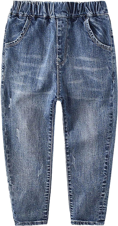 Aislor Big Boys†Elastic Waist Denim Jeans Pants Straight Leg Jeans Washed Stretch Distressed Harem Pants Trousers