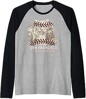 San Francisco Map Baseball Ball Distressed Texture Raglan Baseball Tee