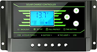 30A Solar Charge Controller PWM 12V 24V Auto with Back-Light LCD Display 5V Dual USB 30 amp Solar Regulator Charger Z30