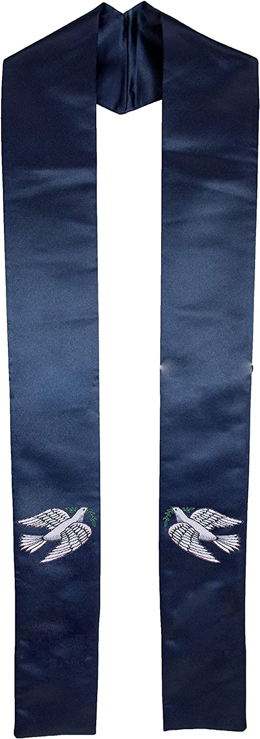 Deluxe Satin Dove of Peace Clergy Stole for Ministers and Weddings