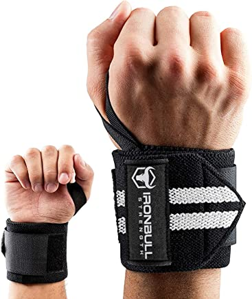 Iron Bull Strength Wrist Wraps (18 Premium Quality) for Powerlifting Bodybuilding Weight Lifting - Wrist Support Braces for Weight Strength Training (Black/White)