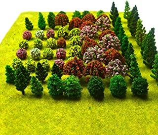 70pcs Model Trees Mixed Miniature Trees Model Train Scenery Artificial Wargame Trees Model Railroad Scenery Diorama Suppli...