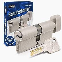 GERCAR Pro knop cilinder 35/35 massieve cilinder met knop cilinderslot deurslot - van messing mat vernikkeld - incl. 5 sle...