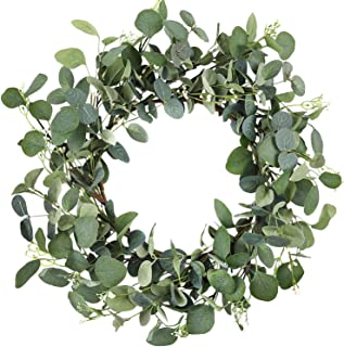 CEWOR 19 Inches Artificial Green Leaf Eucalyptus Wreath Spring Summer Outdoor Ornaments for Front Door Wall Window Party D...