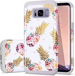 Fingic Samsung Galaxy S8 Case Pineapple Pattern Hybrid Hard Back Soft Silicone Ultra Thin Shock Absorption High Impact Resistant Shockproof Protective Case Cover for Samsung Galaxy S8 - Grey