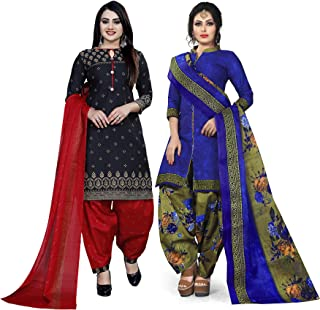 Rajnandini Women's Black And Blue Cotton Printed Unstitched Salwar Suit Material (Combo Of 2) (Free Size)