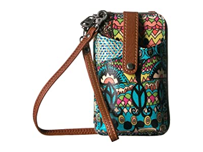 Sakroots Artist Circle Smartphone Wristlet (Aqua One World) Wristlet Handbags