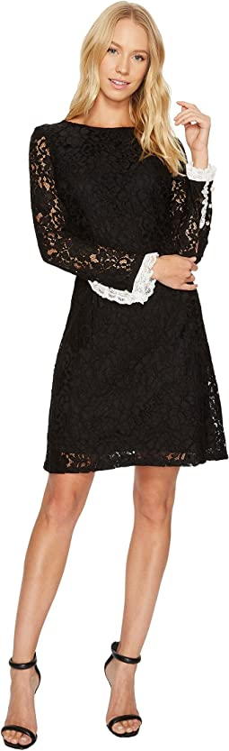 Adrianna Papell Lace Shift with Long Sleeves
