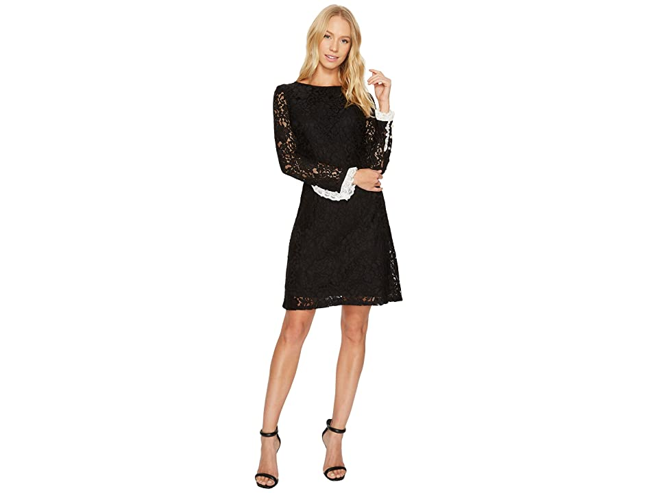Adrianna Papell Lace Shift with Long Sleeves (Black) Women