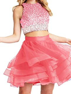 Bonnie Two Piece Dress 2018 Short Open Back Prom Ball Gowns Bs028