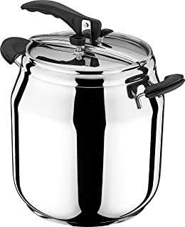FabHome Korkmaz Gastro 15.5 Quart Stove Top Pressure Cooker Stainless Steel Cookware Induction Compatible, Manual Slow Coo...