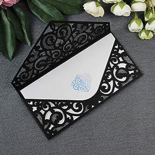 Fai da te apribile taglio laser invito nero partecipazioni matrimonio carta con busta - campione prestampato !!