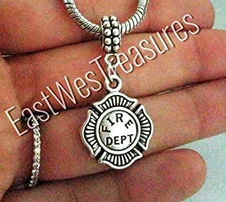 Firefighter Fireman maltese cross Charm Bracelet, Necklace, Keychain - Jewelry Gift for Men Women