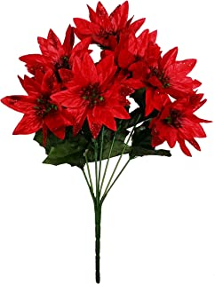 MM TJ Products Artificial Poinsettia Bouquet; 7 Stems W/Glitter (1)