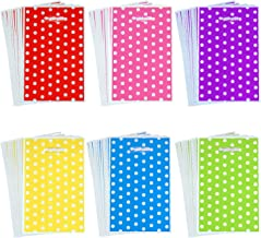 Aneco 120 Pieces Assorted Colors Plastic Bags Party Favor Bags Plastic Goody Bags with White Dots Patterns for Party and Birthday, 6 Colors