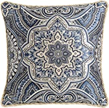 Riverbyland Decorative Throw Pillows Cover Blue Jacquard 15x15