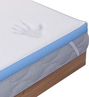 Dreamzie - Topper Colchón Viscoelástico 160 x 200 cm - 5 cm Espuma de Alta Densidad 45 kg/m3 Efecto Memoria Ergonómica - 4 Grande Esquinas 30cm - Certificación Oeko Tex