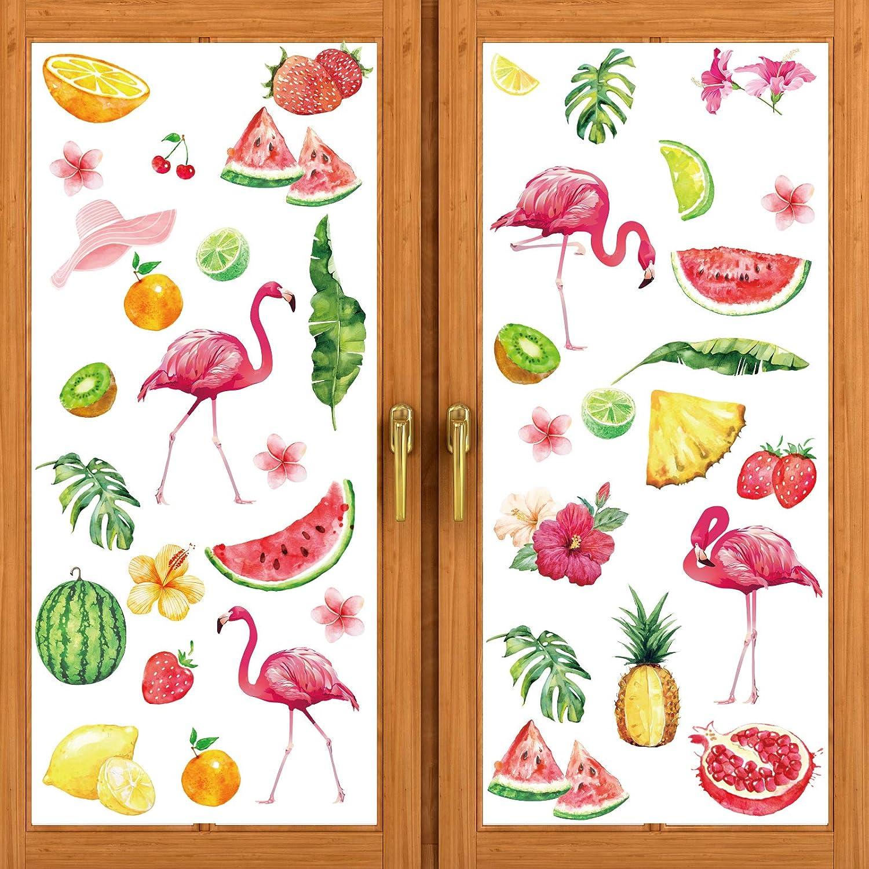 80 Pieces Summer Flamingo Window Fl Decals Tucson Selling rankings Mall Sticker Hawaii