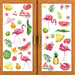 Tenare 80 Pieces Summer Window Clings Summer Season Decor, Large Flamingo Lemon Fruit Decal for Kids School Home Office Ac...