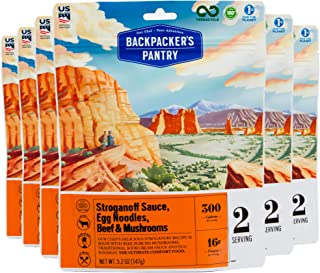 Backpacker's Pantry Stroganoff Sauce, Egg Noodles, Beef & Mushrooms, 2 Servings Per Pouch (6 Count), Freeze Dried Food, 16...