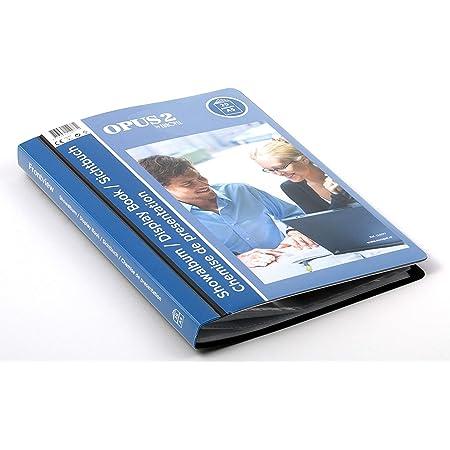 OPUS 2 Livre d'affichage de vue avant (20 pochettes transparentes) | Portfolio A5 et dossier d'affichage de projet pour les réunions et conférences | Pochette transparente en polypropylène | Noir