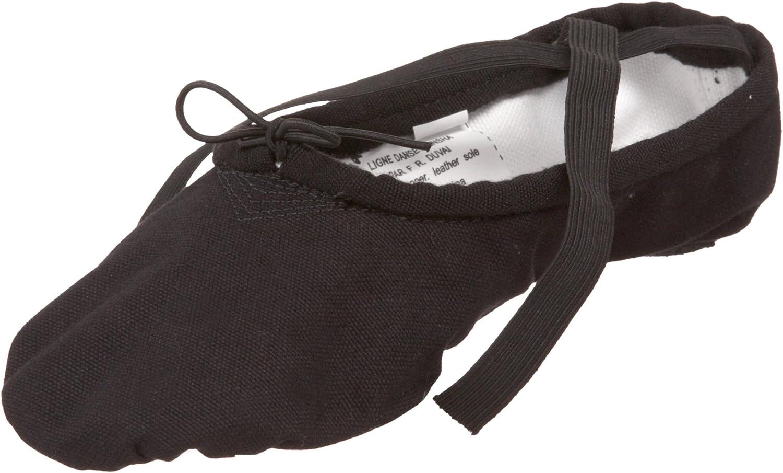 Sansha Pro 1 Canvas, Split-Sole, Ballet Shoes, Size 9W, Black
