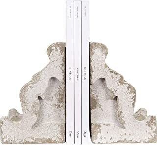 Creative Co-op Distressed White Corbel Shaped Bookends (Set of 2 Pieces)